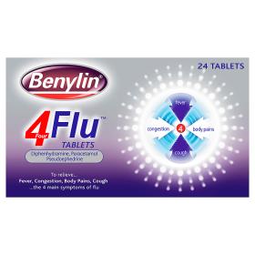 Benylin 4 Flu Tablets x 24