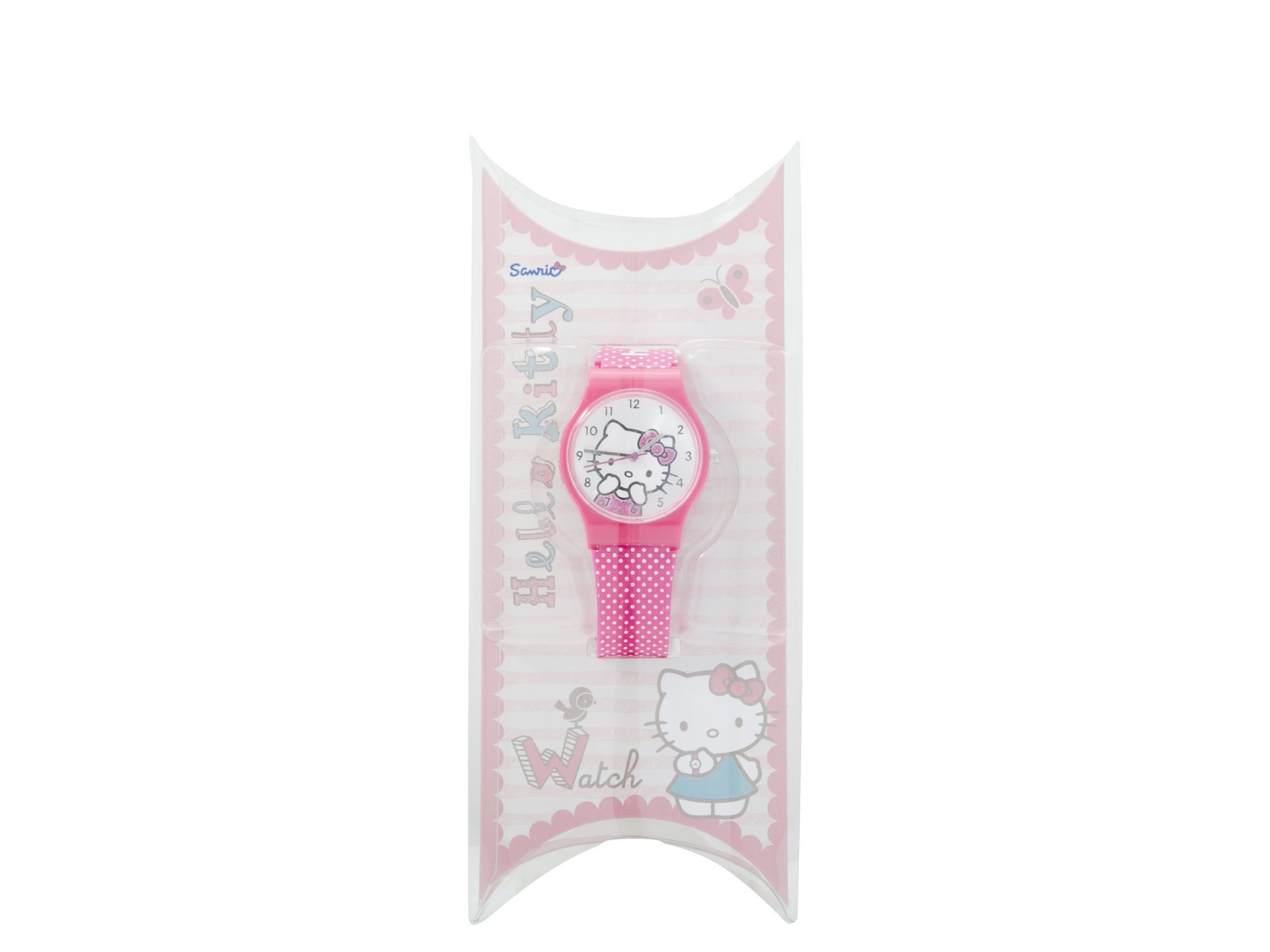 Hello Kitty Watch White Spotted Strap Round Fa
