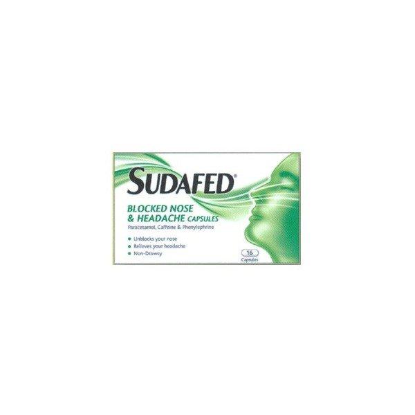Sudafed blocked nose & headache capsules x 16